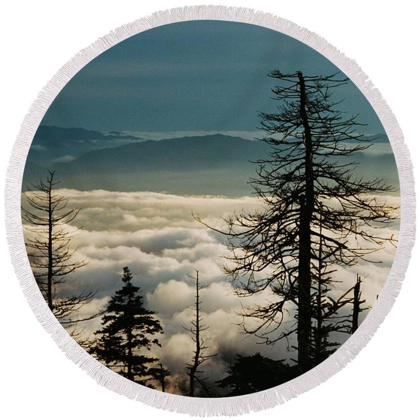 Smoky Mountains Round Beach Towel featuring the photograph Clingman's Dome Sea Of Clouds - Smoky Mountains by Mountains to the Sea Photo
