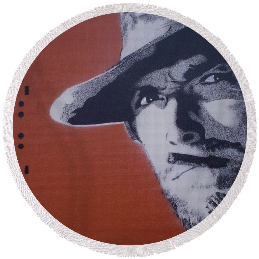 Clint Eastwood Round Beach Towel featuring the painting Clint Eastwood by Gary Hogben