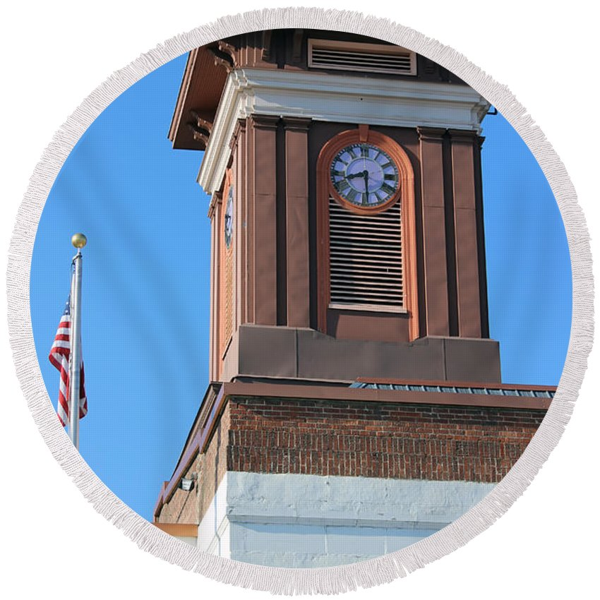 Round Beach Towel featuring the photograph Clock Tower by Cathy Anderson