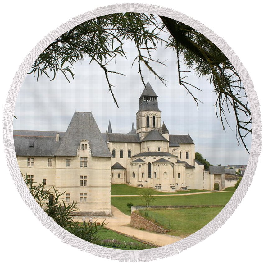 Cloister Round Beach Towel featuring the photograph Cloister Fontevraud View - France by Christiane Schulze Art And Photography