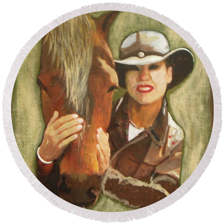 Horse Round Beach Towel featuring the painting Close Friend by Vesna Antic