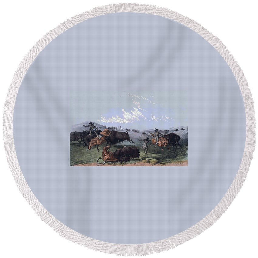 Close Quarters Round Beach Towel featuring the digital art Close Quarters by Currier and Ives