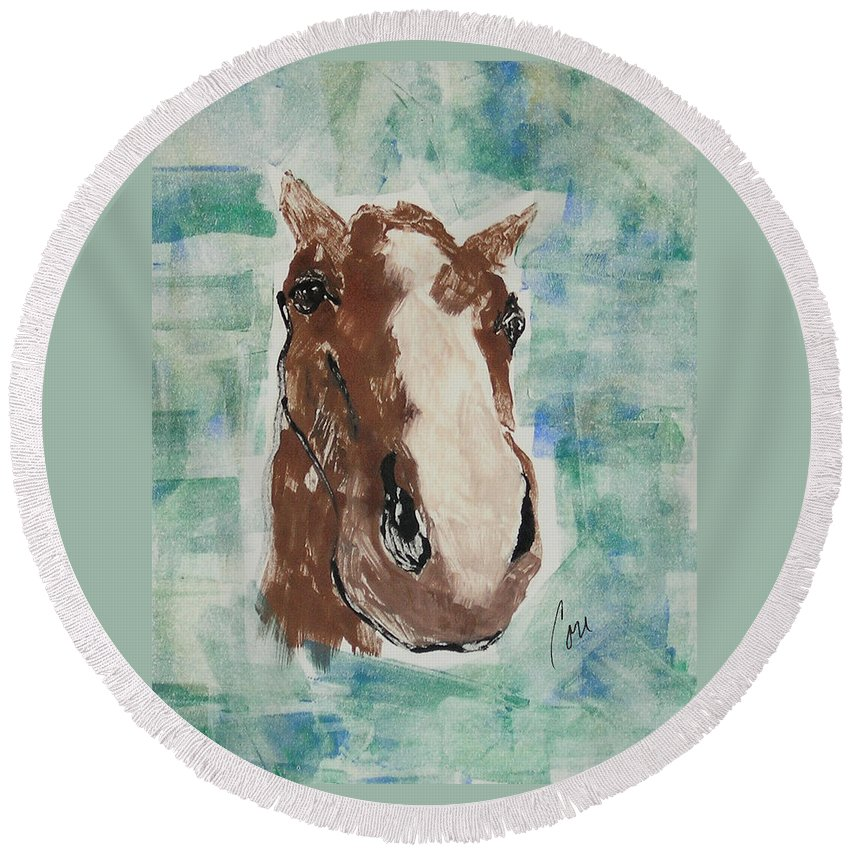 Horse Round Beach Towel featuring the mixed media Close Up by Cori Solomon