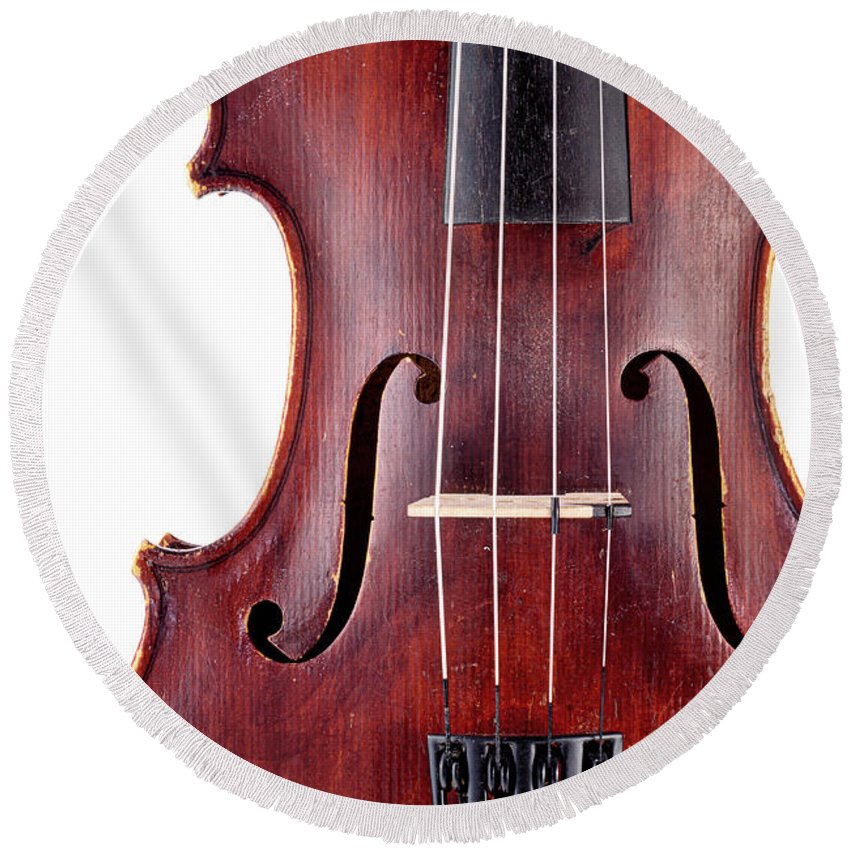 Symphony Orchestra Round Beach Towel featuring the photograph Close Up Of A Violine by Chevy Fleet