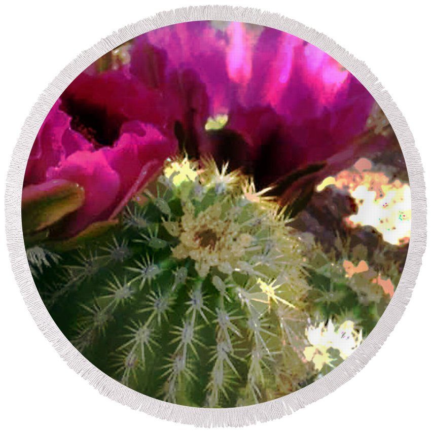 Cactus Round Beach Towel featuring the painting Close Up Of Pink Cactus Flowers by Elaine Plesser