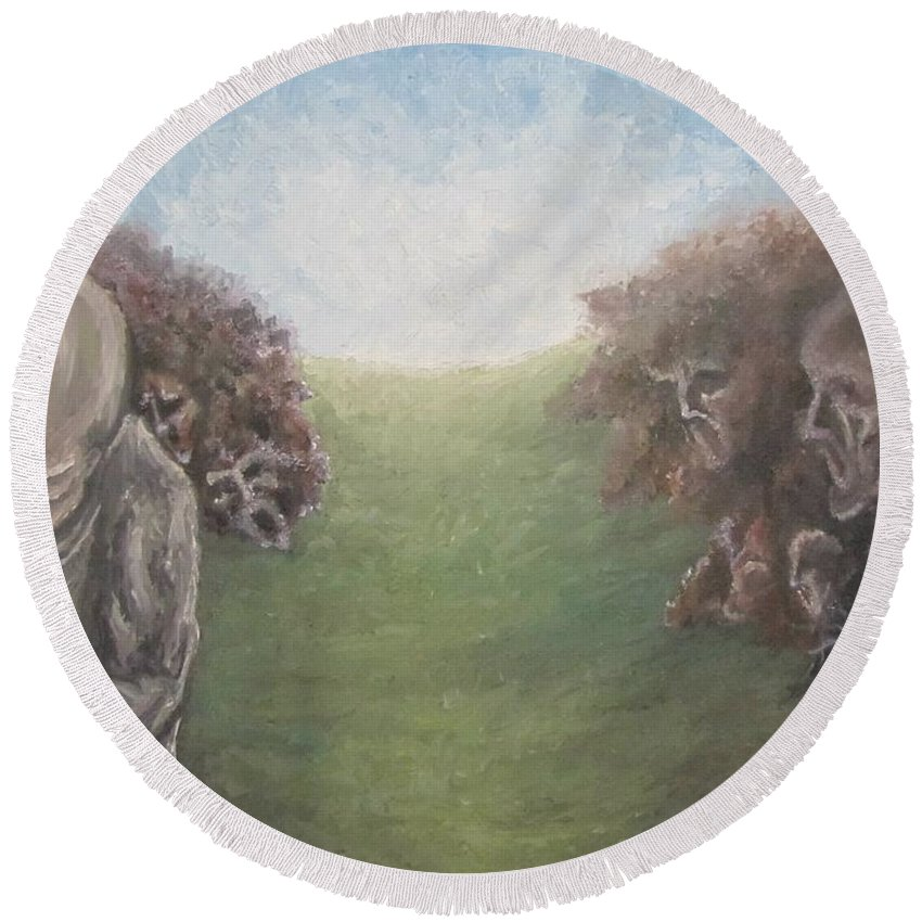 Tmad Round Beach Towel featuring the painting Closure by Michael TMAD Finney