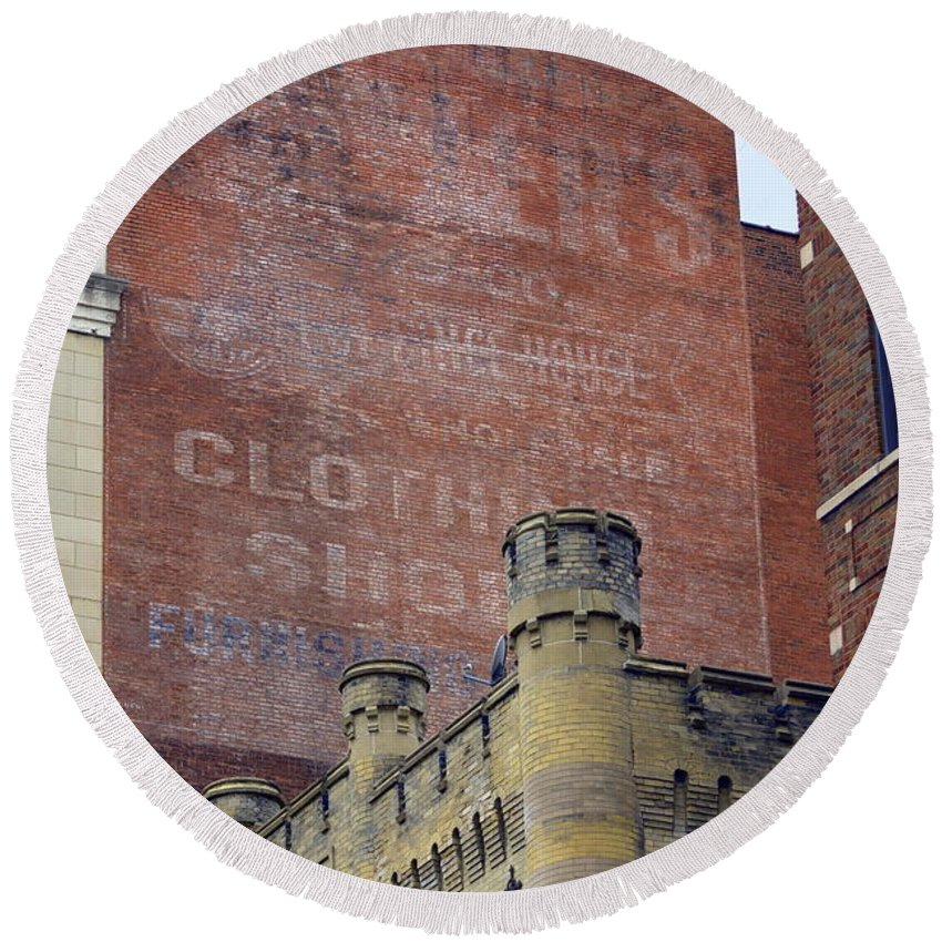 Architecture Round Beach Towel featuring the photograph Classic Cincinnati Architecture by Kathy Barney