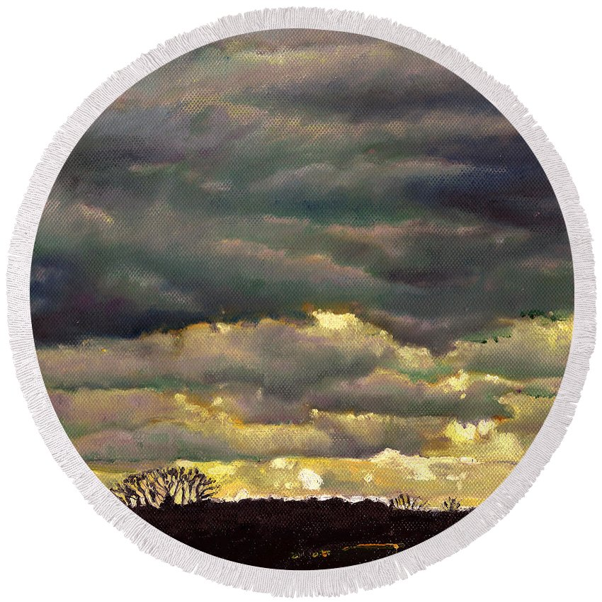Skies Round Beach Towel featuring the painting Cloud Burst by Helen White
