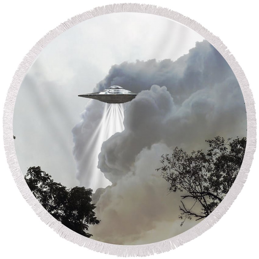 2d Round Beach Towel featuring the photograph Cloud Cover by Brian Wallace