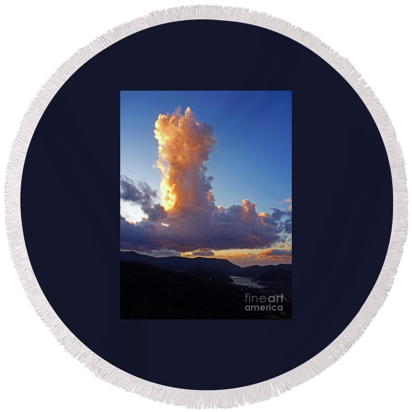 Cumulus Round Beach Towel featuring the photograph Cloud Formation by Tim Holt