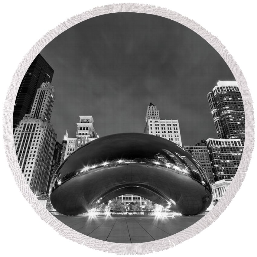 3scape Round Beach Towel featuring the photograph Cloud Gate And Skyline by Adam Romanowicz