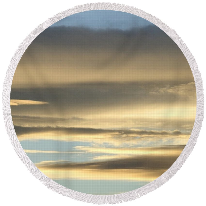 Clouds Round Beach Towel featuring the photograph Cloud Series 27 by Teri Schuster