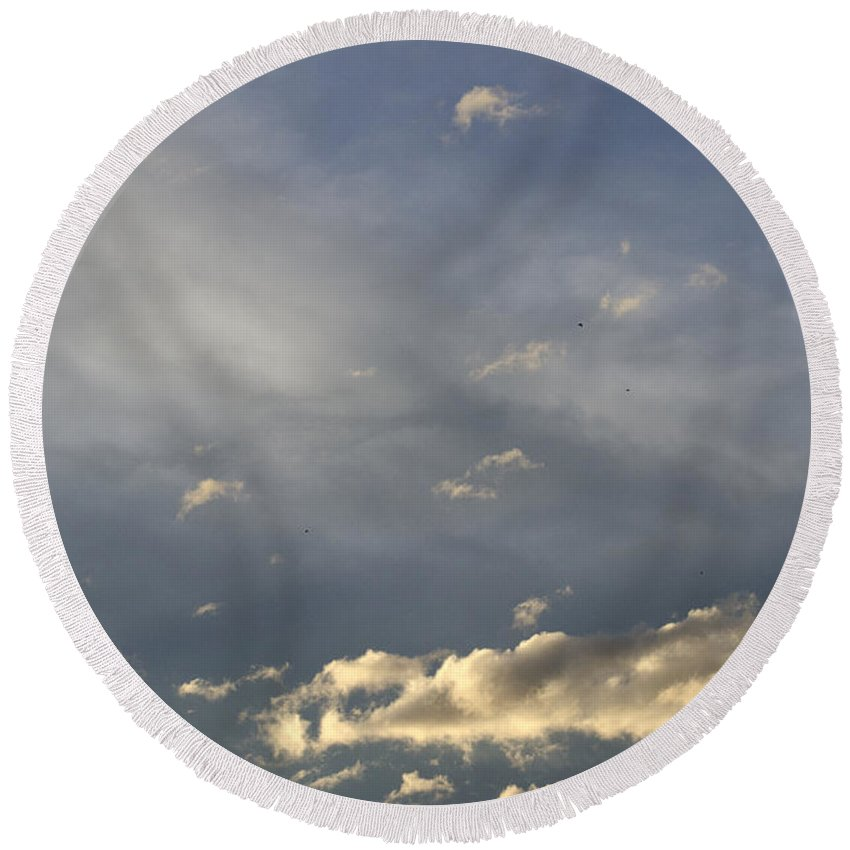 Clouds Round Beach Towel featuring the photograph Cloud Series 37 by Teri Schuster