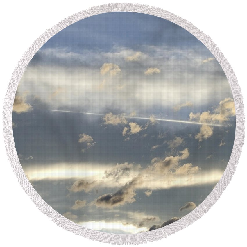 Clouds Round Beach Towel featuring the photograph Cloud Series 39 by Teri Schuster