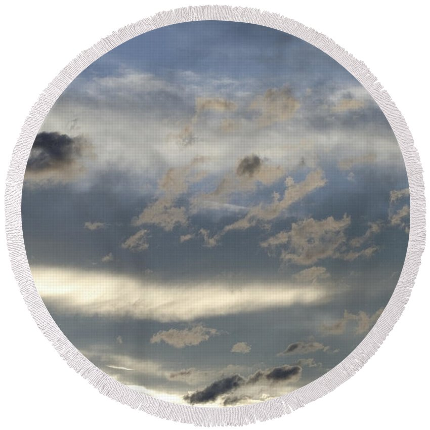 Clouds Round Beach Towel featuring the photograph Cloud Series 43 by Teri Schuster
