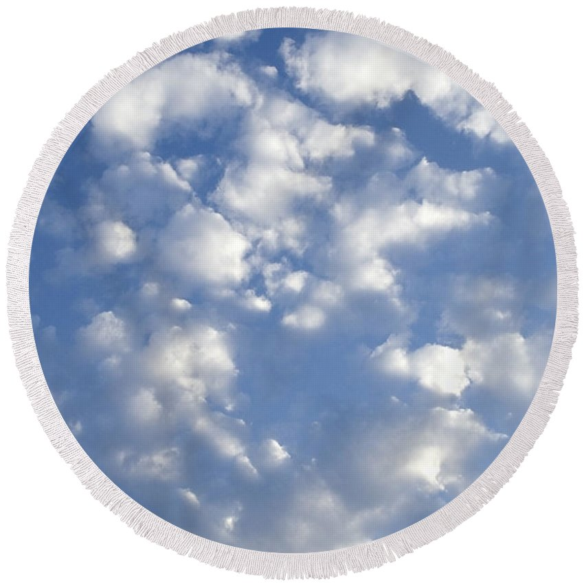 Clouds Round Beach Towel featuring the photograph Cloud Series 7 by Teri Schuster