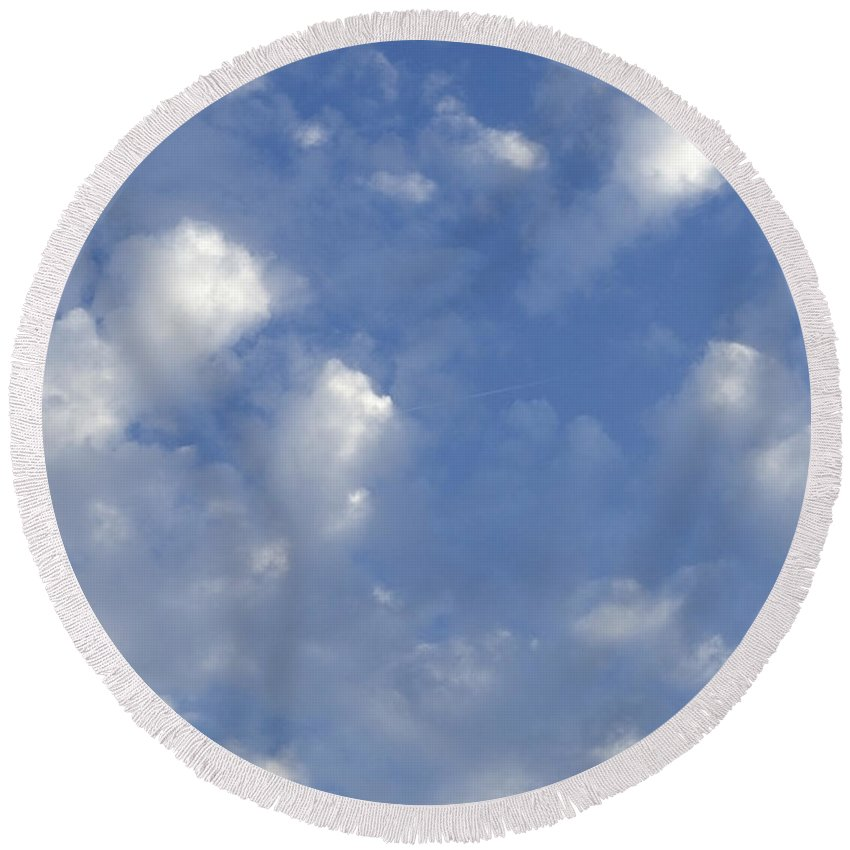 Clouds Round Beach Towel featuring the photograph Cloud Series 8 by Teri Schuster