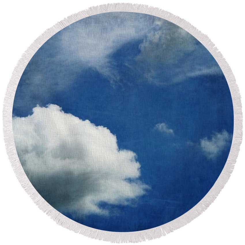 Cloud Shapes Round Beach Towel featuring the photograph Cloud Shapes by Dan Sproul