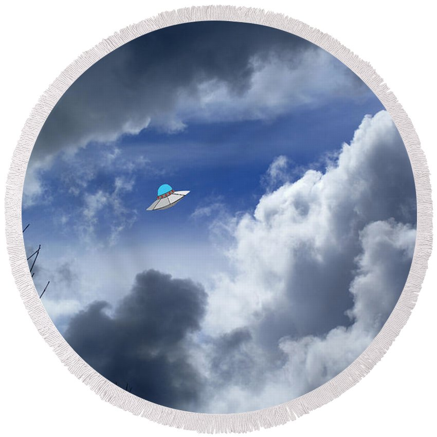 Aliens Round Beach Towel featuring the photograph Cloud Surfing by Ben Upham III