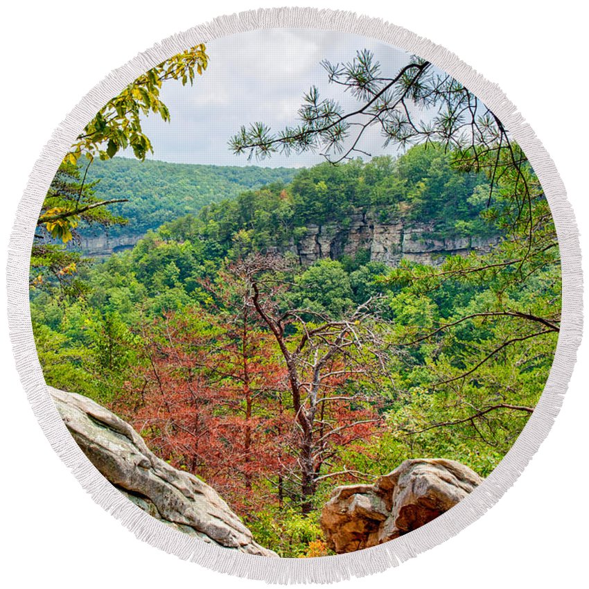 Landscape Round Beach Towel featuring the photograph Cloudland Canyon State Park Georgia by John M Bailey