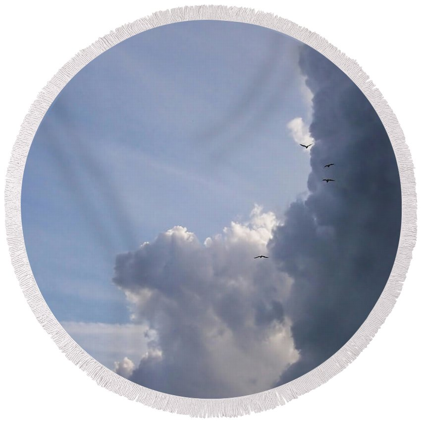 Clouds Round Beach Towel featuring the photograph Clouds by Antony McAulay