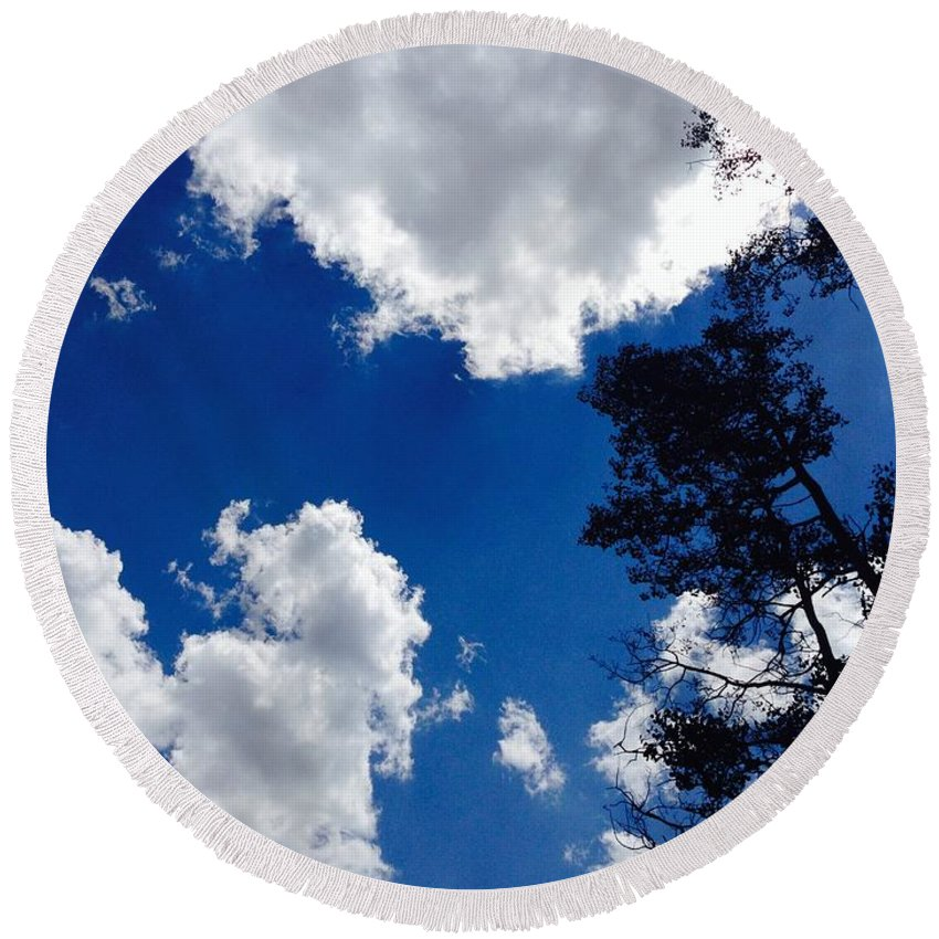 Clouds Round Beach Towel featuring the photograph Clouds by Aprelle Pierce