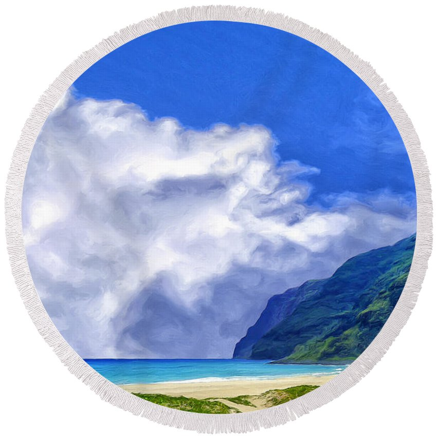 Clouds Round Beach Towel featuring the painting Clouds At Polihale by Dominic Piperata