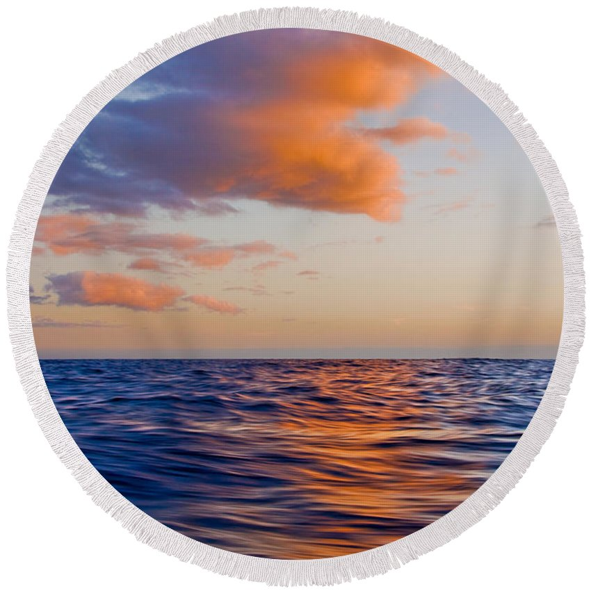 Clouds Round Beach Towel featuring the photograph Clouds At Sunset - Racing Across The Water At Sunset by Nature Photographer