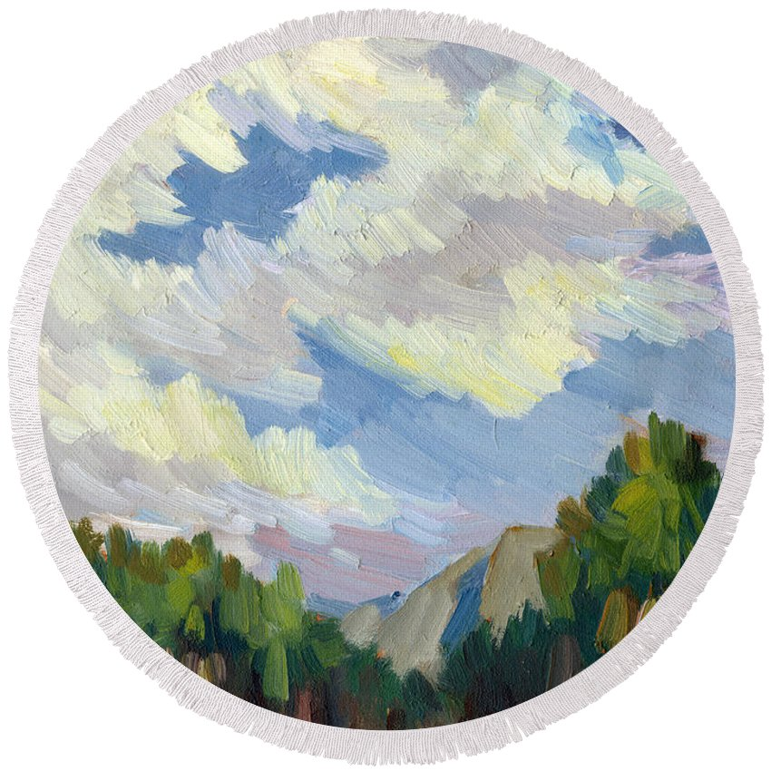 Clouds Round Beach Towel featuring the painting Clouds At Thousand Palms by Diane McClary