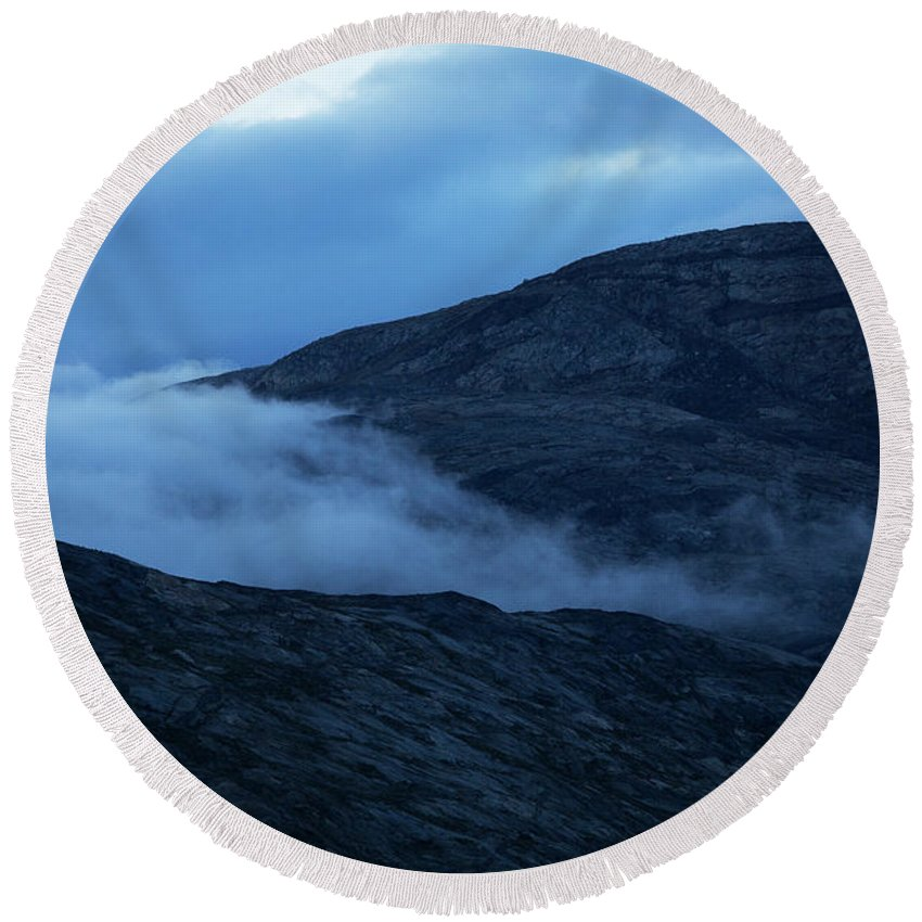 Sermersooq Round Beach Towel featuring the photograph Clouds Cover The Mountains Of The Ice by Todd Korol