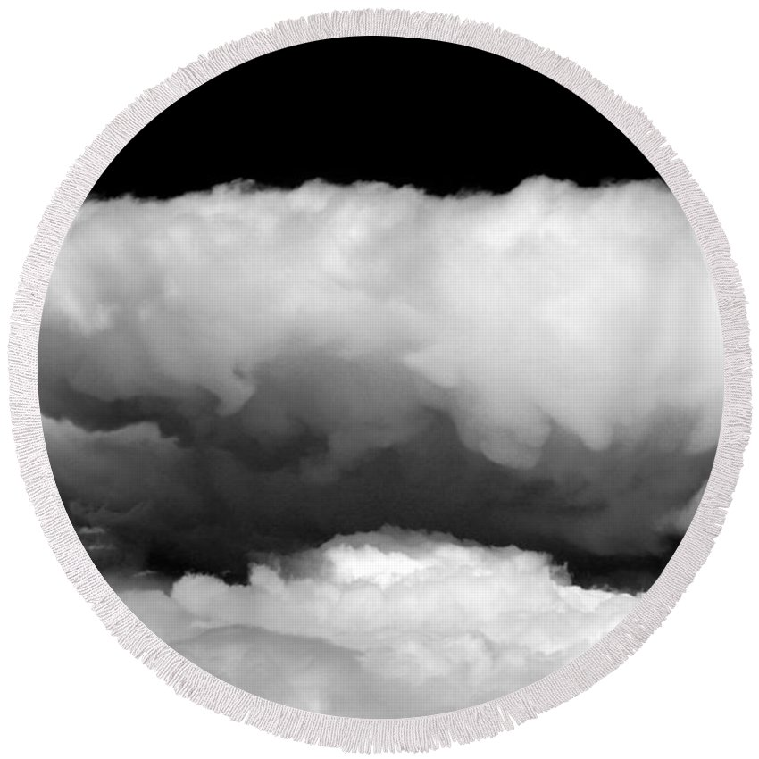 Clouds Round Beach Towel featuring the photograph Clouds In Black And White by John Daly