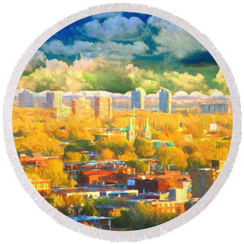Montreal Round Beach Towel featuring the photograph Clouds In The City by Alice Gipson