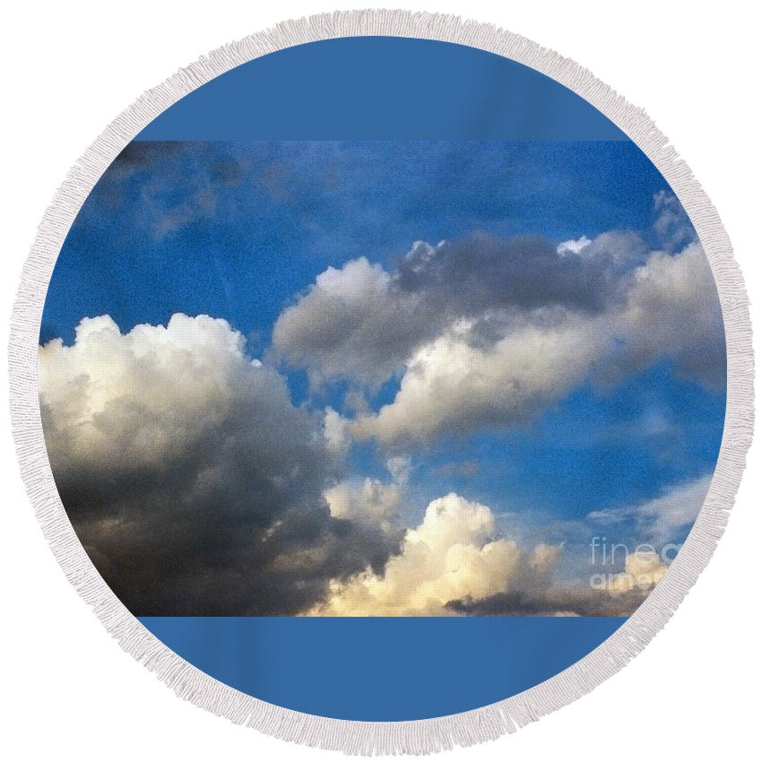 Cloud Round Beach Towel featuring the photograph Clouds Of Today by Anita Lewis