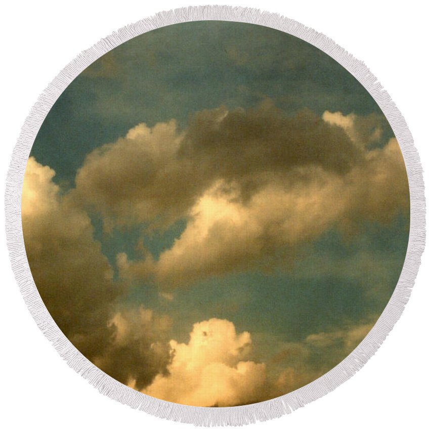Academy Round Beach Towel featuring the photograph Clouds Of Yesterday by Anita Lewis