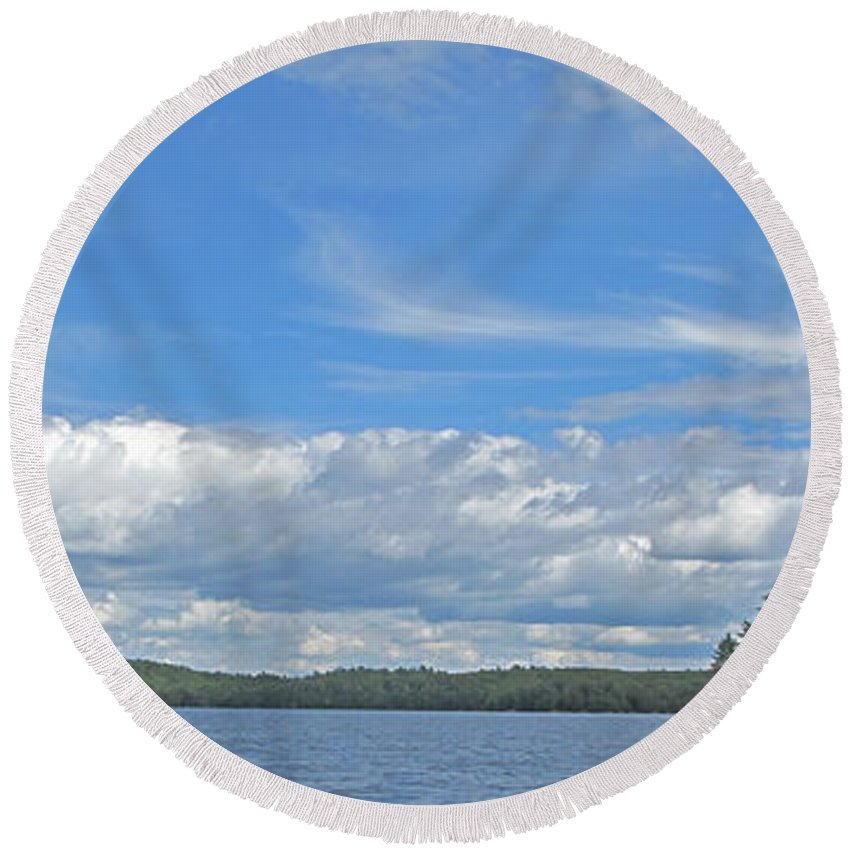 Manitoulin Round Beach Towel featuring the photograph Clouds Over Algoma by Ian MacDonald