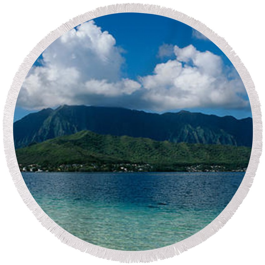 Photography Round Beach Towel featuring the photograph Clouds Over An Island, Hana, Maui by Panoramic Images