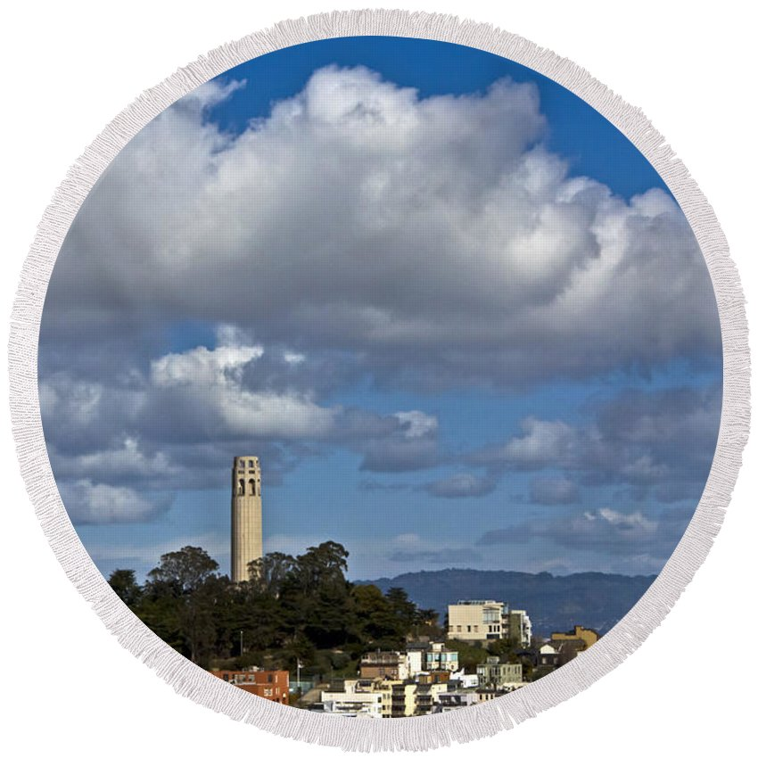 Cityscape Round Beach Towel featuring the photograph Clouds Over Coit Tower by Kate Brown
