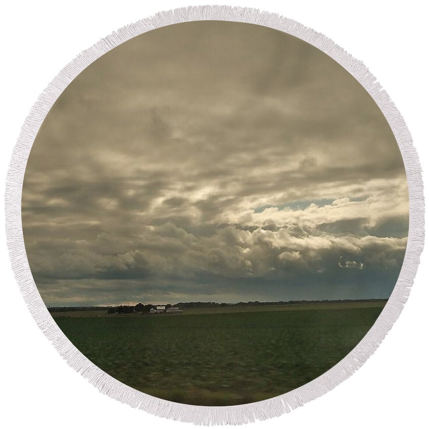 Dramatic Round Beach Towel featuring the photograph Clouds Over Illinois by Susan Wyman