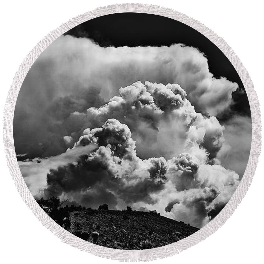 Clouds Round Beach Towel featuring the photograph Clouds Over Santa Fe by Madeline Ellis