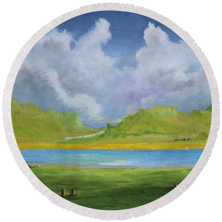 Alicia Maury Prints Round Beach Towel featuring the painting Clouds Over The Lake by Alicia Maury