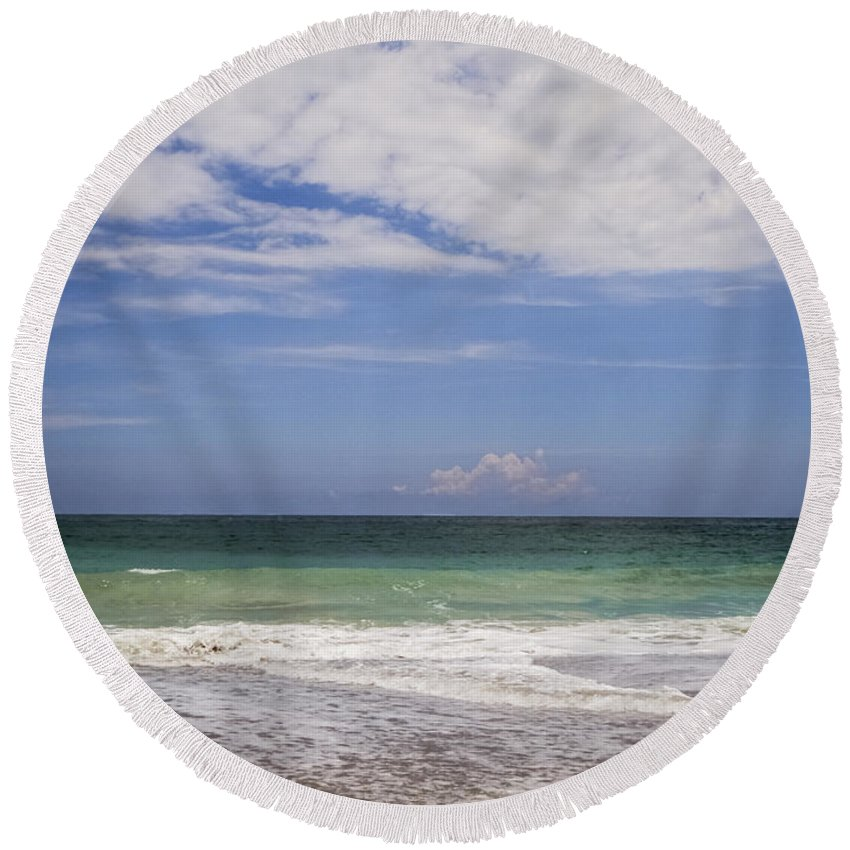 Beach Round Beach Towel featuring the photograph Clouds Over The Ocean by Zina Stromberg