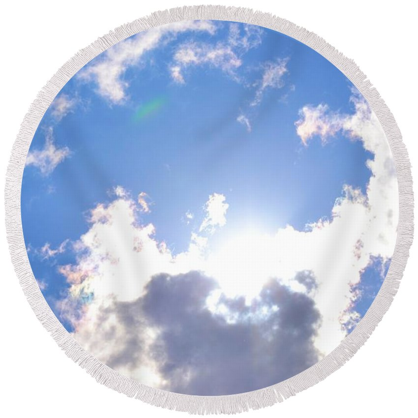 Clouds Round Beach Towel featuring the photograph Clouds With Sunshine by Tara Potts
