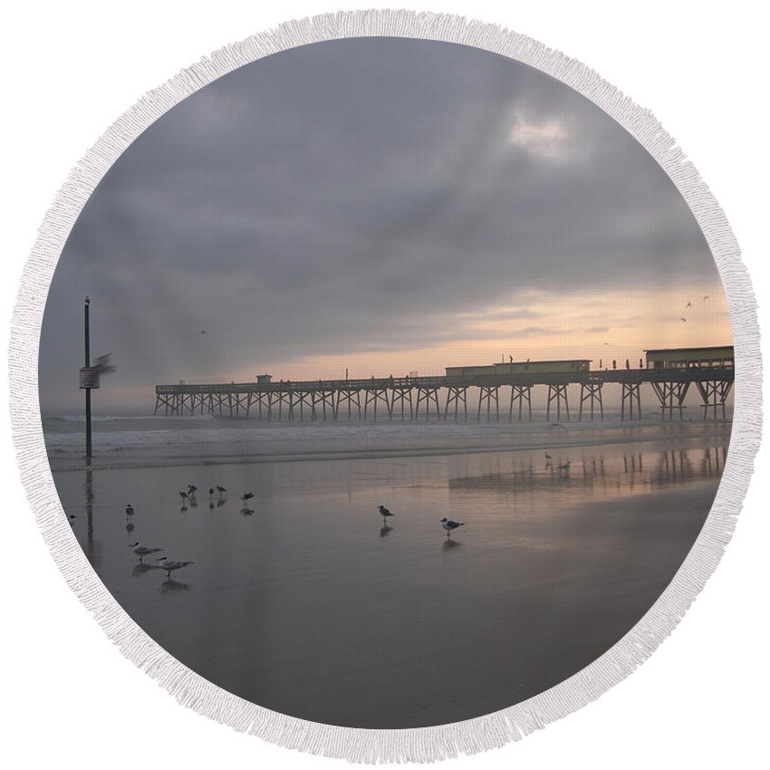 Art Round Beach Towel featuring the photograph Cloudy Dawn 1 3-15-15 by Julianne Felton