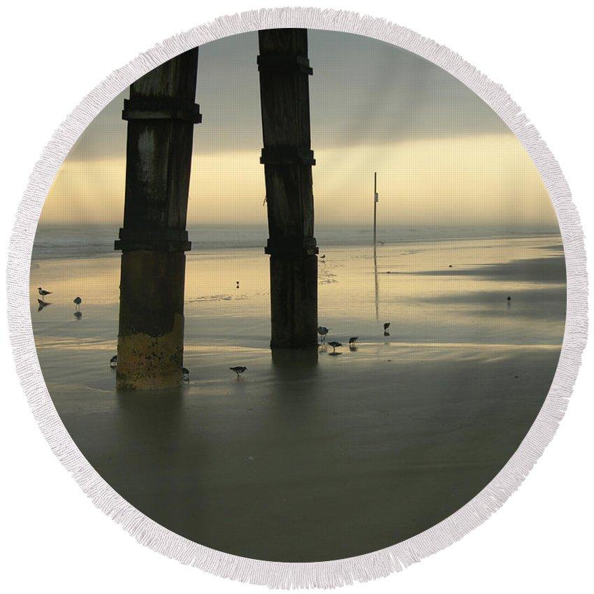 Dawn Round Beach Towel featuring the photograph Cloudy Dawn 2 3-15-15 by Julianne Felton