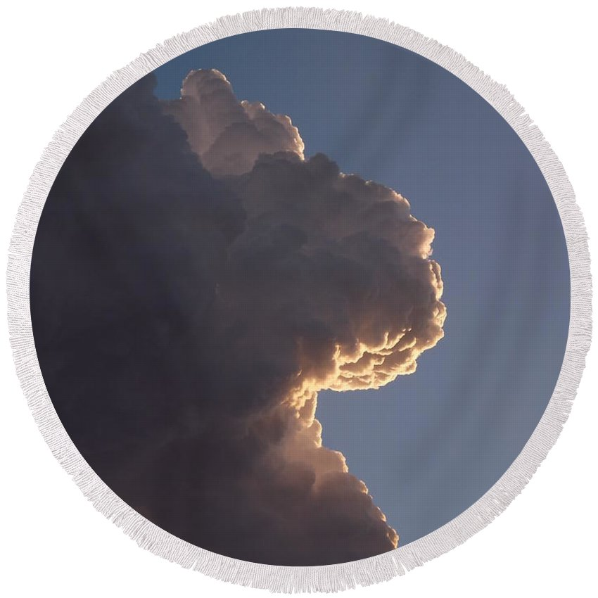 Face In The Cloud Round Beach Towel featuring the photograph Cloudy Face by Caryl J Bohn