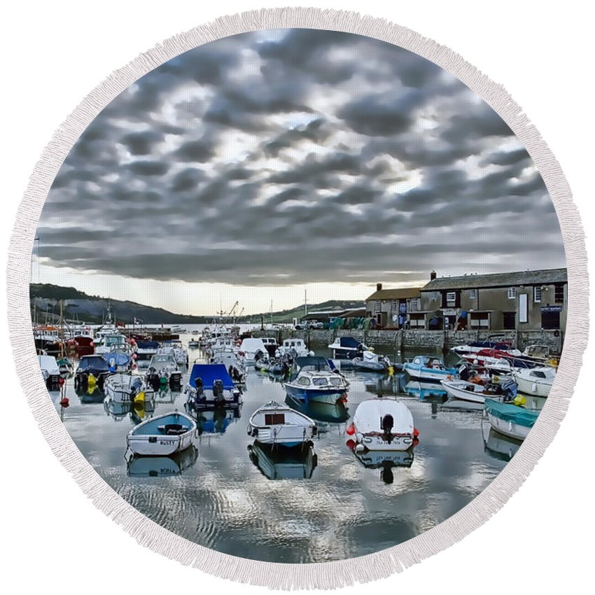 Lyme-regis Round Beach Towel featuring the photograph Cloudy Morning - Lyme Regis Harbour by Susie Peek