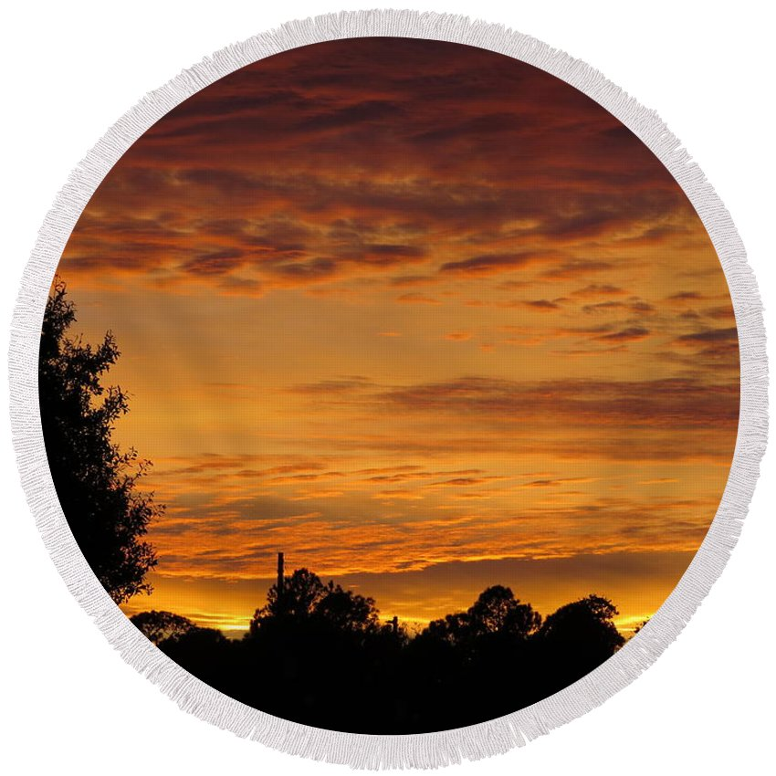 Sunset Round Beach Towel featuring the photograph Cloudy Sunset by Zina Stromberg
