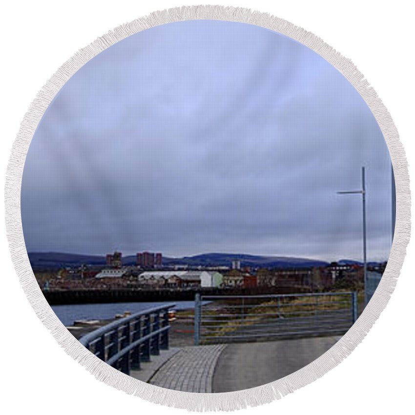 Panorama Round Beach Towel featuring the photograph Clydebank Panorama by Antony McAulay