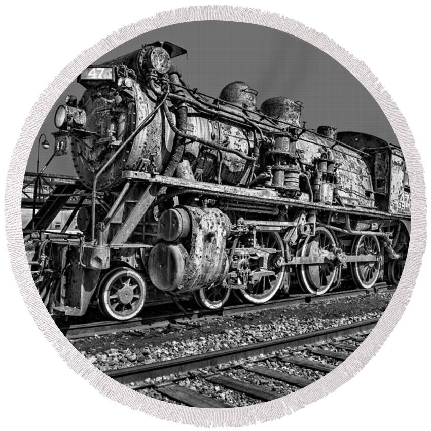 Steam Engine Train Round Beach Towel featuring the photograph Cnr Number 47 Bw by Susan Candelario