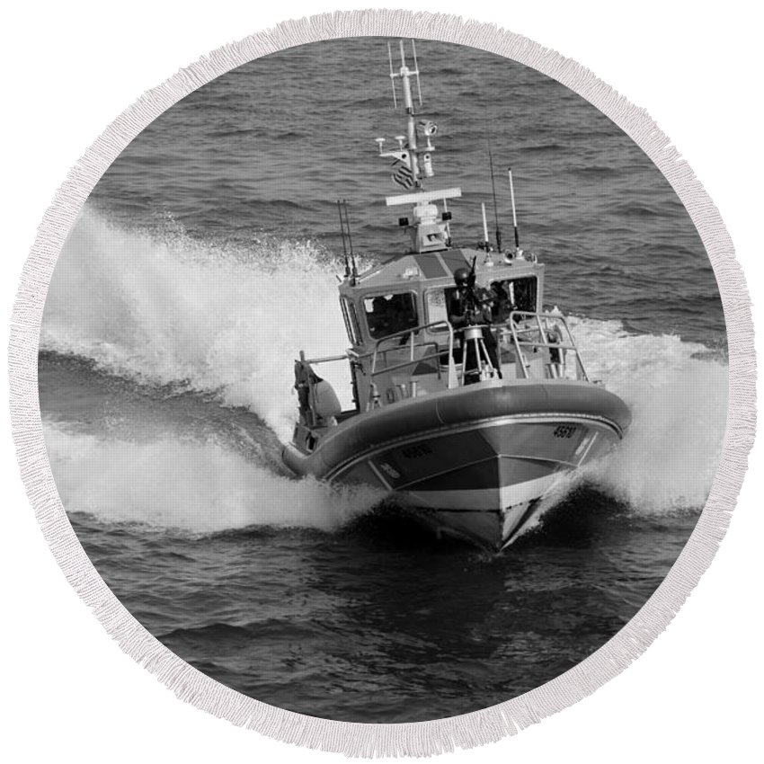Harbor Round Beach Towel featuring the photograph Coast Guard In Black And White by Rob Hans